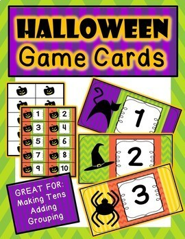 Halloween Number Cards: Great for Making Tens, Addition and Multiplication