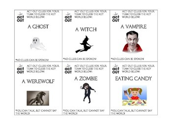 Halloween Game: Charades and Pictionary for ESL