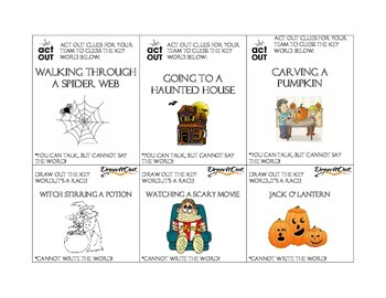 halloween game charades and pictionary for esl