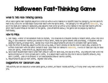 Halloween Game: Scattergories for Grades 3-12