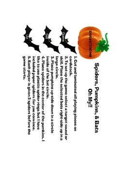 Halloween Game for Artic, Plurals, Verbs, and Categories