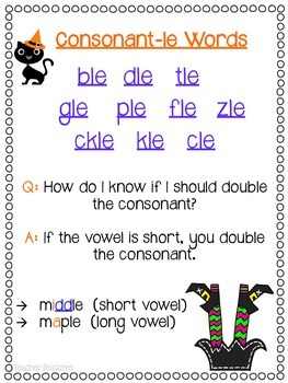 Halloween Game: Consonant-le (Cle) Word Work