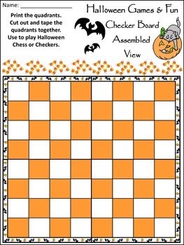 Halloween Games Activities: Halloween Checkers & Chess Game Activitiy Packet