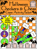 Halloween Games Activities: Halloween Checkers & Chess Game Activity - Color