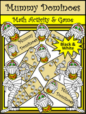 Halloween Games: Mummy Halloween Dominoes Math Game Activity Packet - B/W