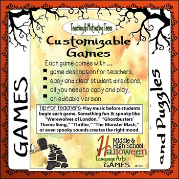 Halloween Games & Puzzles - Fun Middle & Secondary CCSS English Language Arts