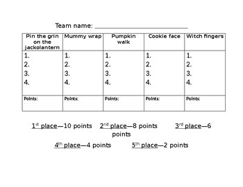 Halloween Games Score Sheet