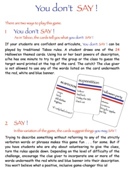 3 Hallowe'en Word Work Games: Imagic, Rebus & You don't SAY! (a bit like Taboo®)