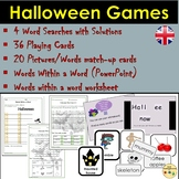 Halloween Games: Wordsearches, Playing Cards, Picture/Word