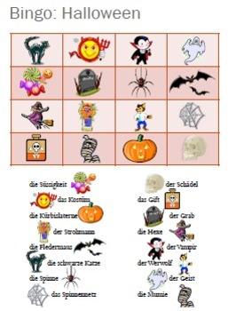 Halloween: German Bingo Cards