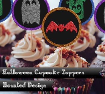 Halloween Ghost Bat Frankenstein Glitter Effect Cupcake Toppers
