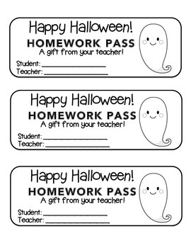 """Halloween"" Ghost - Homework Pass –Holiday FUN! (black line version)"