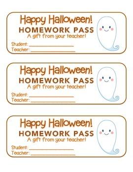 """Halloween"" Ghost - Homework Pass –Holiday FUN! (color & b"
