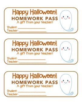 """""""Halloween"""" Ghost - Homework Pass – Holiday FUN! (full color version)"""