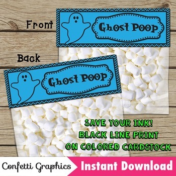 Halloween Treat Bag Toppers Ghost Poop October Marshmallows Black Line Save Ink
