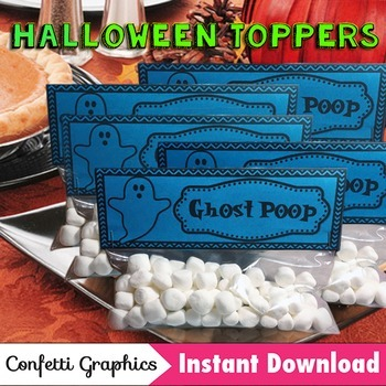 Halloween Treat Bag Toppers Ghost Poop October Marshmallow