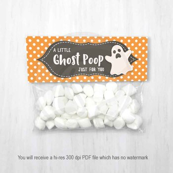 Halloween Ghost Poop Treat Bag Toppres, Halloween Party Favor Candy Bag Topper