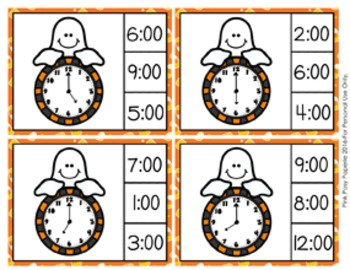 Halloween Ghost Time to the Hour Clip Cards