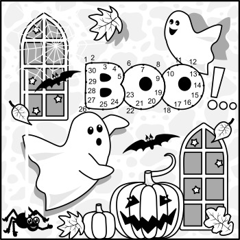 Halloween Ghosts Connect the Dots and Coloring Page, Commercial Use Allowed
