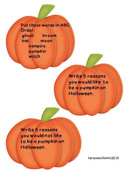 Halloween Ghosts, Pumpkins, and Owls Language and Math Activity Cards