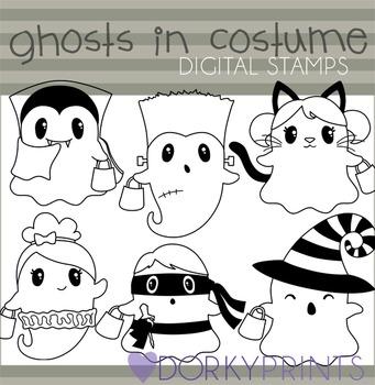 Halloween Ghosts in Costume Blackline Clip Art