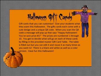 Halloween Reward Cards - Editable