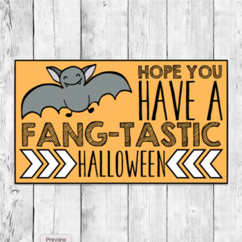 Halloween Gift Labels/ Student Favor/ Vampire Bat Fangtastic Goody Bag