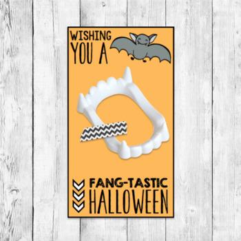 Halloween Gift Labels/ Vampire Bat Fangs Student Favor Goody Bag Tag