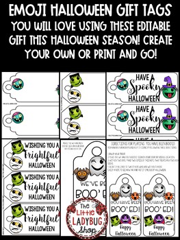 Emoji Halloween Gift Tags • Boo'ed FUN for Student Gifts Treat Bags