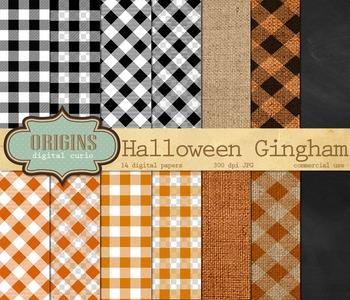 Halloween Gingham Digital Paper Backgrounds
