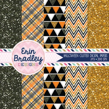 Halloween Glitter Digital Paper Pack