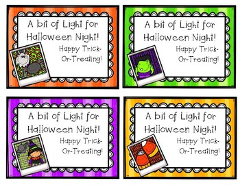 Halloween Glow Stick Treat Tags