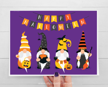 Halloween Gnomes Clipart, Halloween Bunting, SVG