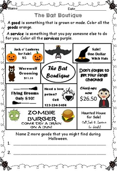Halloween Goods and Services Economic Review Worksheet