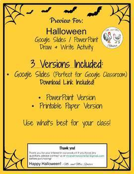 Halloween Google Slides - Draw and Write Activity with Video Tutorial!