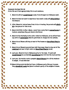 Halloween Grammar: A Story and Printables of Commonly Confused Words