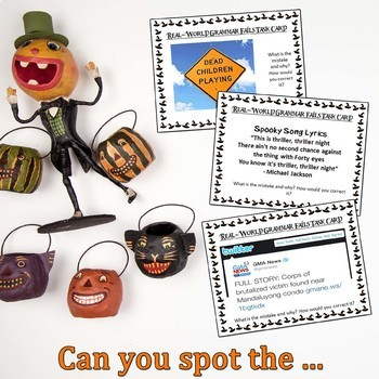 Halloween Activities, Grammar Fails in the Real World, Proofreading Task Cards