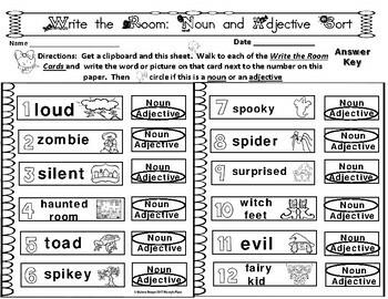Halloween Grammar Five Different Write the Room  Centers