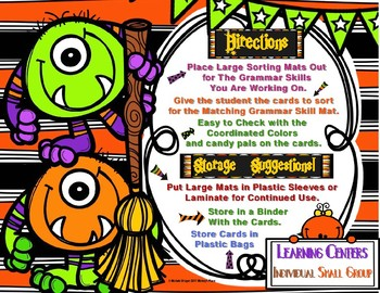 Halloween Grammar Individual and Small Group Centers Differentiated Activities