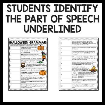 Halloween Grammar- Parts of Speech Identification within Facts
