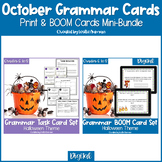 Halloween Grammar Print Task Cards & BOOM Cards BUNDLE Dis