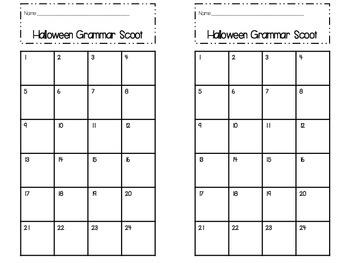 Halloween Grammar Scoot WITHOUT QR Codes