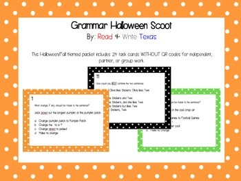Halloween Grammar Scoot WITHOUT QR Codes
