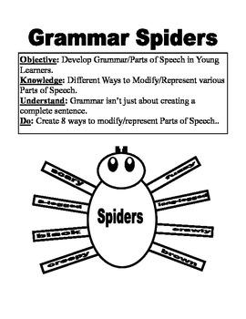 Halloween Grammar Spiders Parts of Speech