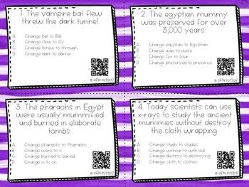 Halloween Grammar - Task Cards With QR Codes