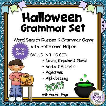 Halloween Grammar Word Search Puzzles  Noun, Verb, Adjective, Adverb, ABC Order