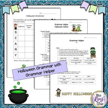 Halloween Grammar Set Word Search Puzzles, Noun, Verb, Adjective, Adverb, ABC