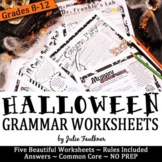 Halloween Grammar Worksheets, NO PREP, Middle and High School