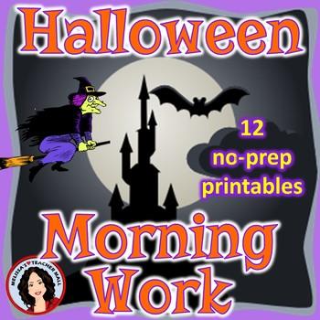 Halloween Grammar and Math No-Prep Printables