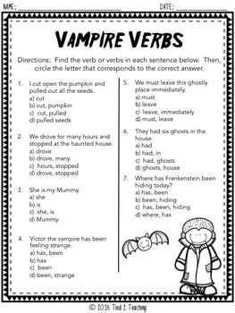 Halloween Grammar for the Middle Grades